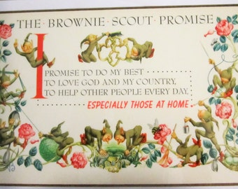 Vintage 1940's Brownie Promise Wall Plaque