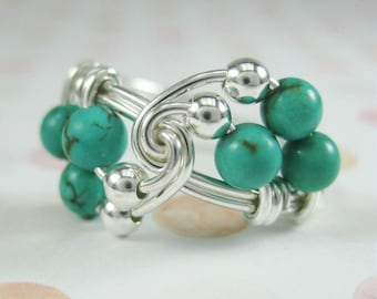 Genuine Turquoise Jewelry -- Wire Wrapped Ring Turquoise and Sterling Silver Trio -- Any Size