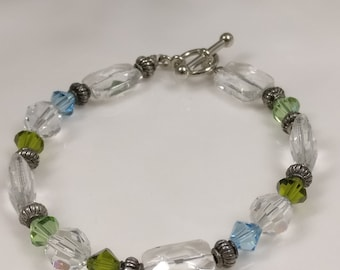 Crystal Beaded Bracelet with Blue and Green Accents and Silver Toggle Clasp