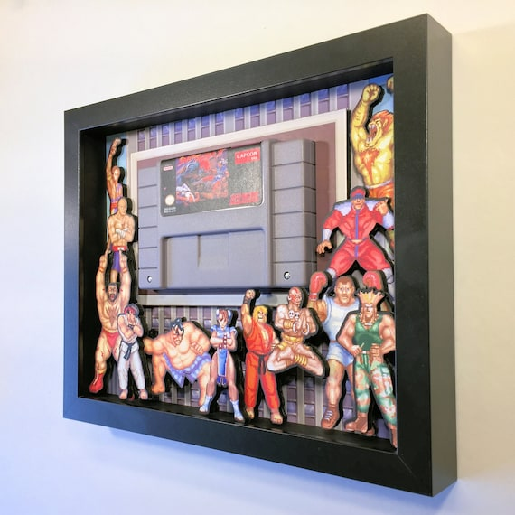 Street Fighter Cartridge Holder 3D Shadow Box for Super Nintendo with Frame 8x10 Street Fighter II