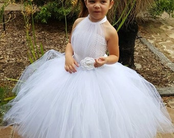 Purple flower girl tutu dress birthday wedding photo white flower girl tutu dress white tutu flower girl dress can be made in different color mightylinksfo