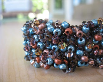 15% off! Chocolate Teal Knit Beaded Bracelet