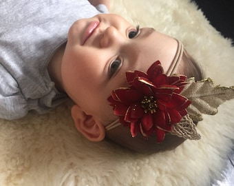 Poinsettia flower Christmas stretchy nylon headband with hessian and gold leaves.