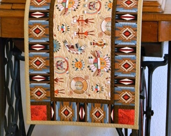 Sandpainting Themed Navajo Style Table Runner Fabric Patchwork Southwestern  Style Table Topper Rectangular Quilted Home Decor