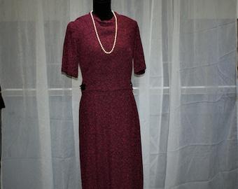 1960s  Tweed  Union Made Jackie Kennedy Inspired Vintage Red Dress Burgundy
