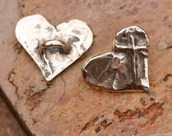 Sterling Silver Buttons // Cross on Heart Button // B-733
