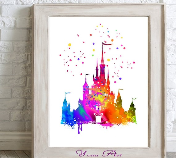 disney home decor paint disney castle watercolor print home decor paint splatter 10710