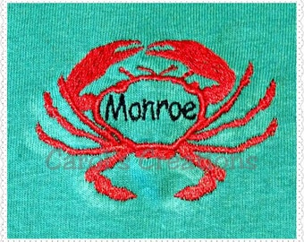Embroidery Design/Crab Monogrammed Design/Machine Embroidered/Personalized Crab Monogram/Download Crab Monogram/Embroidery File/Digital File