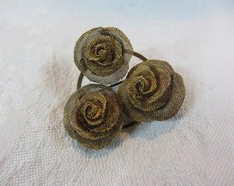 Vintage Brass Mesh Rose Brooch