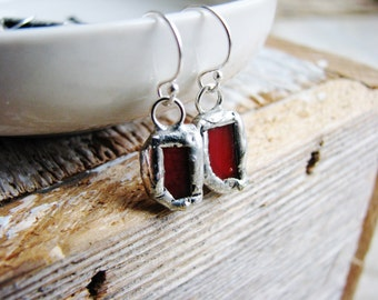 Red Glass Earrings, Stained Glass Earrings, Soldered Earrings, Silver Earrings, Rustic Glass Earrings, Minimalist Earrings