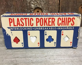 A vintage box of Ace Poker Chips, Gambling Chips