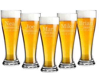 Groomsmen Gift, 5 Personalized Pilsner 16 oz  Beer Glasses, Custom Engraved, Wedding Favor, Party Gift - Bridesmaid