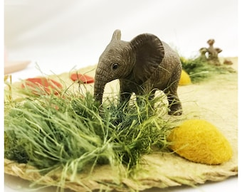 Desert Playscape Play Mat - wool felt pretend play storytelling Zoo Africa safari animals cave