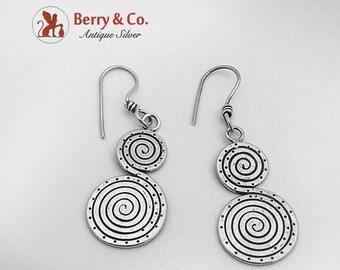 SaLe! sALe! Hand Made Spiraling Scroll Dangle Earrings Sterling Silver