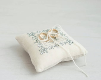 Ring Bearer Pillow - Ring Pillow - Wedding Pillow -  Embroidered Ivory Beige Ring Pillow