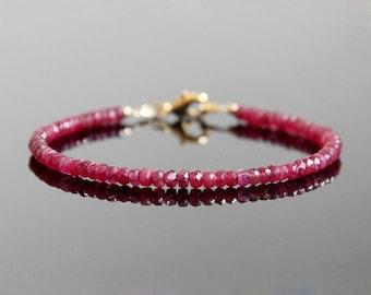 Ruby Bracelet - Genuine Ruby Bracelet, Ruby Bead Bracelet, Ruby Beaded Bracelet, July Birthstone Bracelet, Ruby Stacking Bracelet