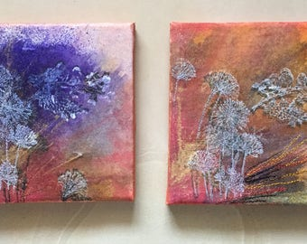 6 x 6 canvases , painted and embroidered