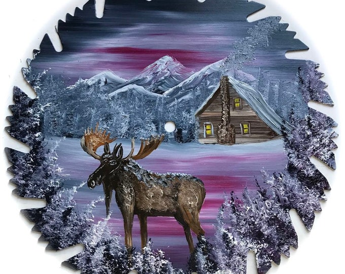 Hand Painted Saw Blade Blue Winter Log Cabin and Moose Mauve Gray Winter