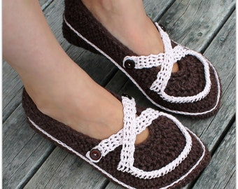 Download Now - CROCHET PATTERN Ladies Criss-Cross Mary Janes - All Sizes - Pattern PDF