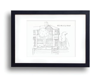 Custom House Portrait ~ Personalised hand drawn home or venue sketch ~ Black and White