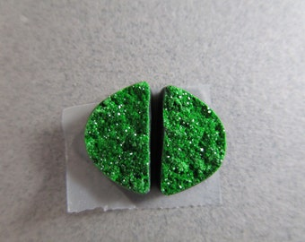 Reserved for Jennifer / Half Circle Uvarovite Drusy Cabs Pair