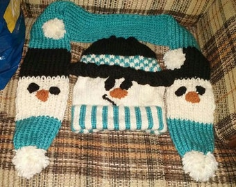 set Hat scarf snowman snow for young adult