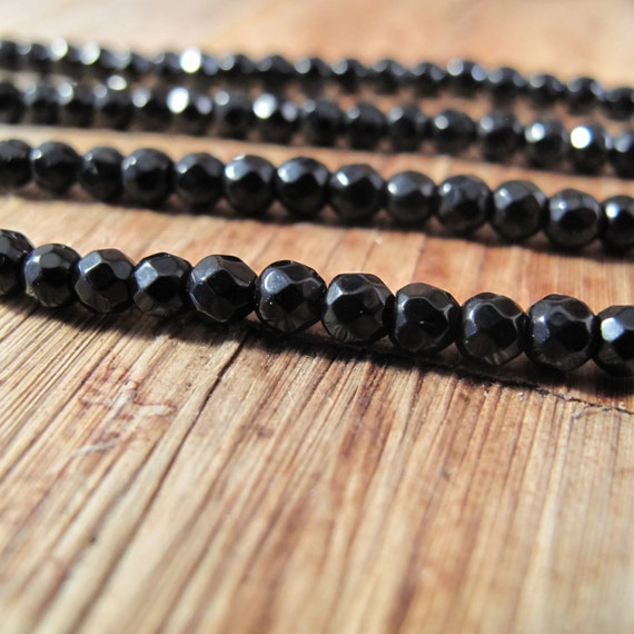 Black Round Beads, Dark Onyx Faceted Rounds, Over 40 Little Gemstones for Making Jewelry, 4mm, 7 Inch Strand (S-On1)