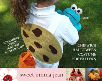 DIY Halloween Costume Pattern - Felt Chocolate Chip Cookie Costume for Toddlers and Big Kids
