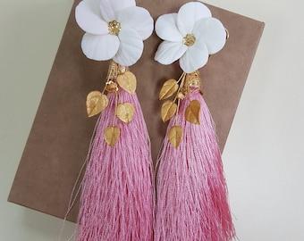 Pink silk earrings, long silk pink earrings, silk tassel earrings, pink tassel earrings, gift for her, long tassel, pink silk earrings