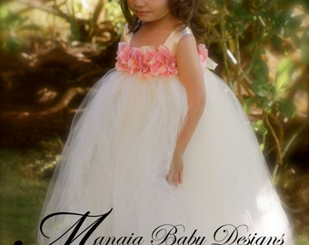 Flower Girl Tutu Dress / Ivory and Pink Flower Girl Dress / Ivory Tutu Dress / Ivory and Pink Tutu Dress