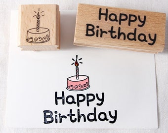 Happy Birthday and Cake Rubber Stamp set