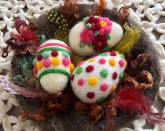 Sale!!!  Hand Felted Easter Egg Nest   Wool Felted Easter Eggs  Easter Accessory  Easter Home Decor