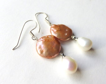 Coin Pearl Earrings, Apricot Pearl Drops, Dainty Circle Earrings, Destination Wedding, Sterling Silver, One of a Kind Gift for Her