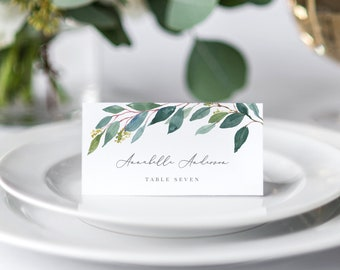 Editable Template - Instant Download Leafy Place Cards