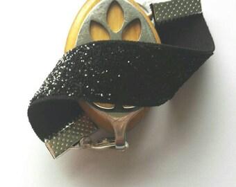 Bellabeat leaf bracelet sparkly black elastic strap bracelet to use with Bellabeat leaf, bellabeat anklet