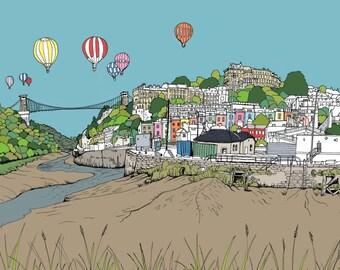 Bristol illustration, fine art print, Clifton Suspension Bridge and Hotwells