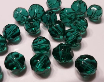 20 large Mallard 8mm glass faceted round beads