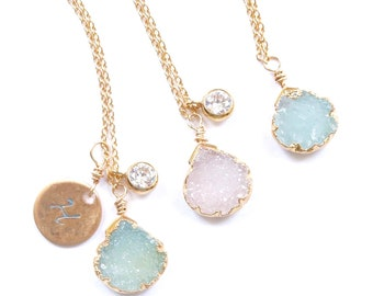 Simple Dainty Ocean Blue and Blush Jewelry, Personalized Dainty Simple Druze Pendants, Charm Necklaces Handcrafted by Bare and Me, Dainty