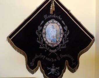 Antique 1871 Religious church banner flag procession hand paint saint RARE