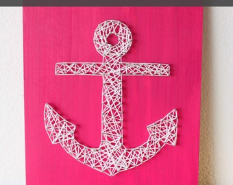 String Art Pattern, String Art Kit, Anchor String Art, DIY String Art, Learn String Art, String Art Gift, Anchor Decor, Anchor Art