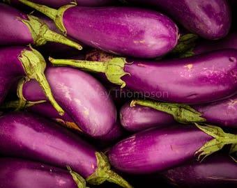 Eggplants - Fine Art Print - Photograph - Wall Art - Kitchen Decor - Food Photography - Purple