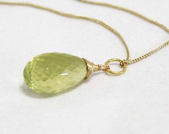 Natural Citrine Lemon Quartz Pendant  14K Yellow Gold Vermeil Wire Wrapped Briolette , November Birthstone , Wedding , Bridal , OOAK
