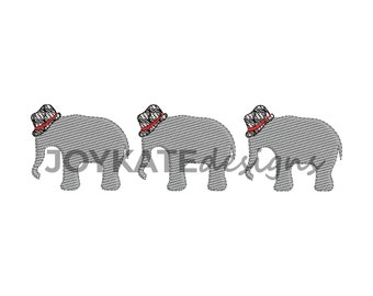 Light Fill Elephant with Houndstooth Hat Trio Embroidery Design
