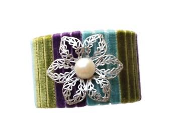 Velvet bracelet. Velvet cuff. Flower bracelet. Statement bracelet. Multicolor bracelet. Valentines day gift. Gift for her. Birthday gift.