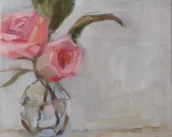 2 Pink Roses, 8x8 Oil Painting on Canvas Panel