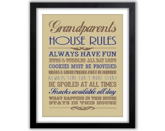 Mimi and Papa Gift - House Rules Art Print - Gifts for Grandparents - Grandparent Print - Gift for Grandma - Home Wall Decor - Grandpa Gift