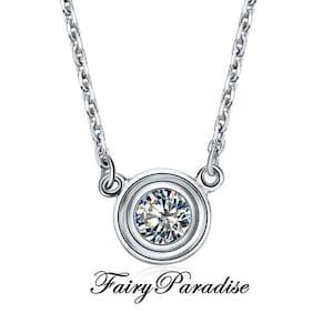 Bezel set pendant etsy 1 carat bezel set solitaire pendant necklace 65 mm man made diamond in aloadofball Choice Image