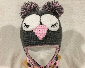 Crochet Owl Hat/Beanie in Heather Gray, Pink, and White Winter Hat