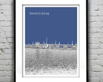 Mantoloking Skyline Poster Art Print New Jersey NJ Version 2