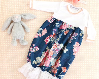 Coral and Navy Floral Baby Girl Going Home Outfit | Charleigh's Floral Coral and Navy Vintage Ruffled Baby Girl Newborn Layette Gown